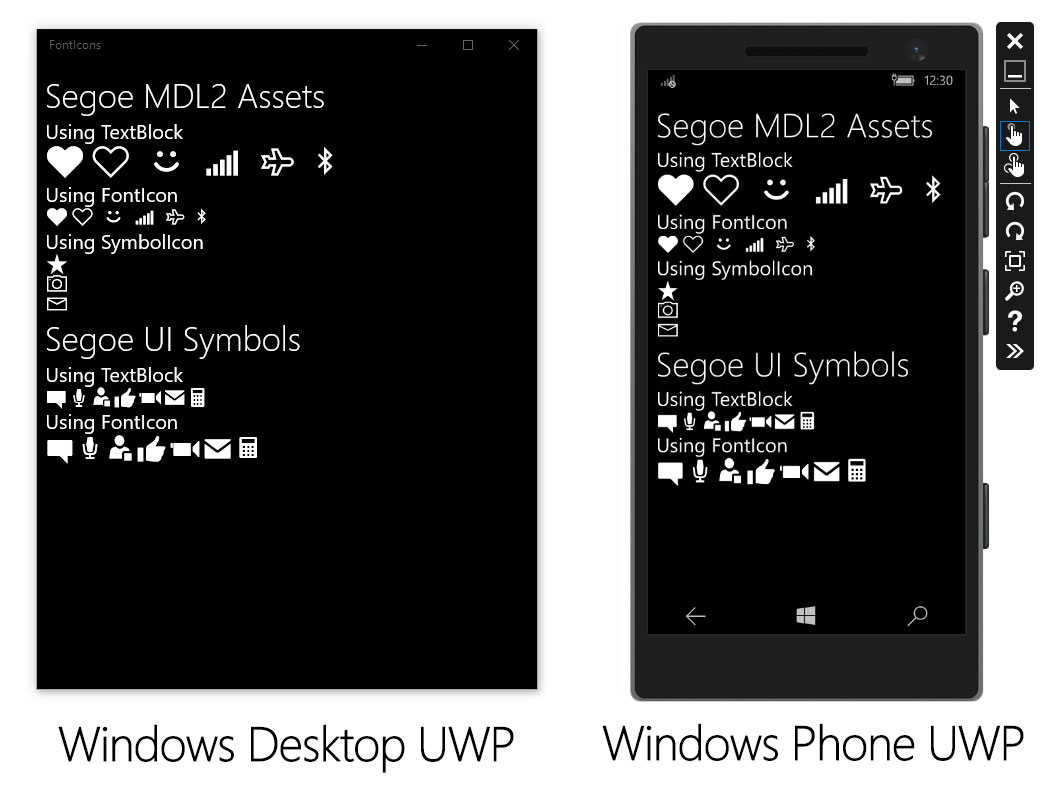 Font Icons In Uwp Using Segoe Mdl2 And Segoe Ui
