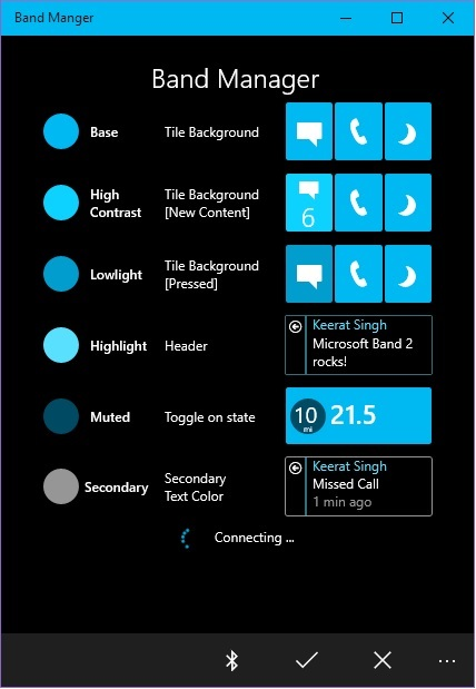 Connecting to Microsoft Band