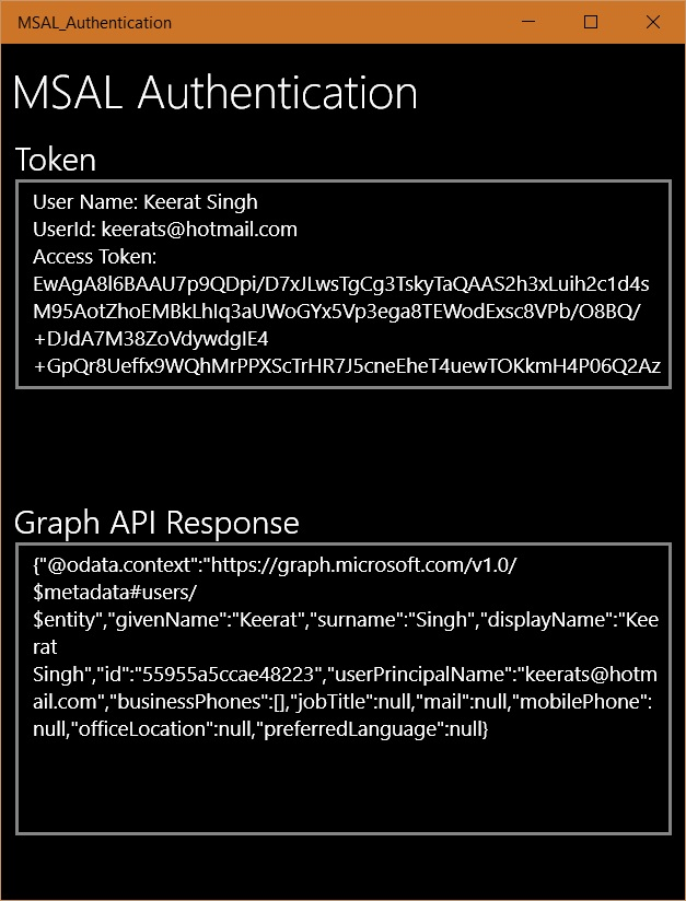 Display Token and Graphi API response